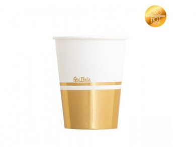 Classic Paper Cups with Gold Metallic Print 8/pcs