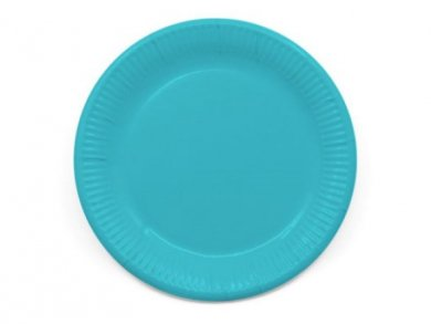 Compostable Large Paper Plates in Turquoise Color 8pcs