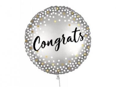 Congrats Silver Foil Balloon with Dots 46cm