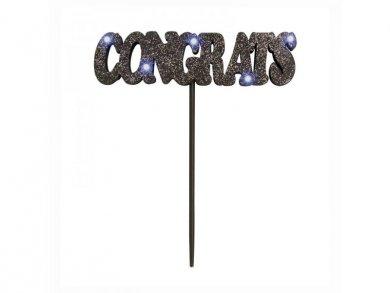Congrats Black Flashing Cake Decoration
