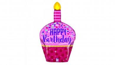 Cupcake Pink and Magenta Design Happy Birthday Supershape Balloon