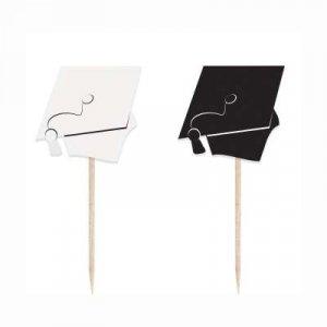 Black and White Graduation Decorative Picks (8pcs)