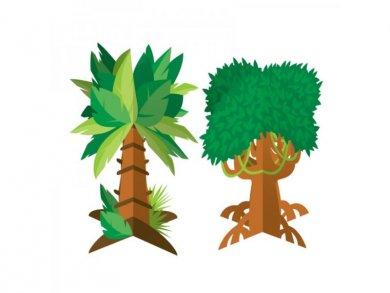 Δέντρα της Ζούγκλας Διακοσμητικά για Το Τραπέζι (2τμχ)