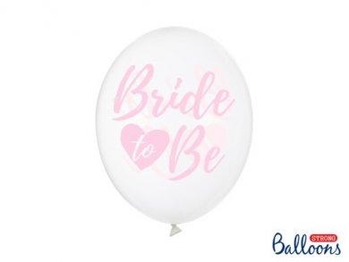 Διάφανα Μπαλόνια Λάτεξ με Ροζ Τύπωμα Bride to Be (6τμχ)