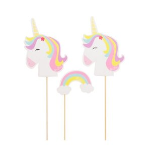 Decorative Picks Pastel Unicorn and Rainbow (6pcs)