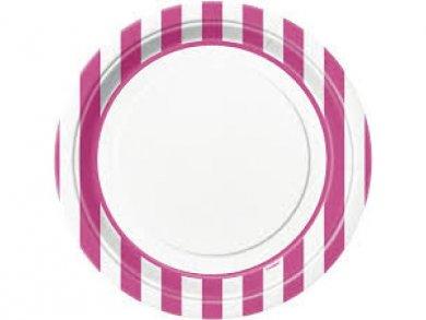 Φούξια Ριγέ Μεγάλα Χάρτινα Πιάτα (8τμχ)