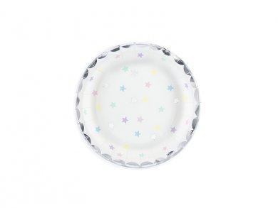 Μονόκερος Με Ασημί Αστέρια Μικρά Πιάτα 6τμχ