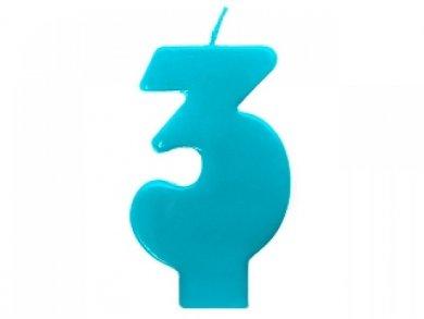 3 Τρία Τυρκουάζ Κερί για Τούρτα