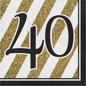 Μαύρο-Χρυσό Χαρτοπετσέτες Με Τον Αριθμό 40 16/Τμχ