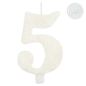 5 Number Five White Glitter Cake Candle