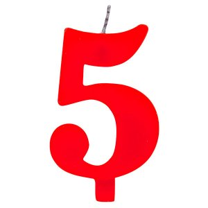 5 Number Five Red Cake Candle