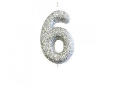 6 Silver Glitter Cake Candle (6,5cm)
