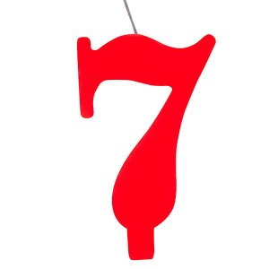 7 Number Seven Red Cake Candle