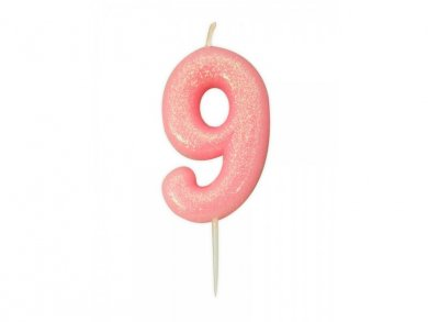 9 Pink Glitter Cake Candle (6,5cm)