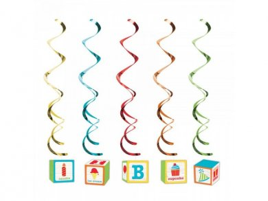 ABC Party Hanging Swirl Decoration (5pcs)
