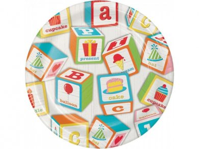 ABC Party Small Paper Plates (8pcs)