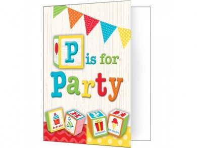 ABC Party Invitations 8/pcs