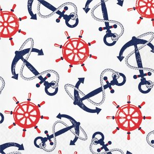 Luncheon Napkins Anchors & Wheels 16pcs