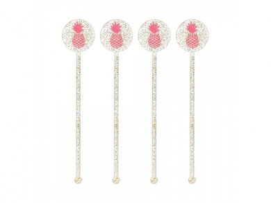 Pineapple Drink Stirrers with Gold Glitter (18pcs)