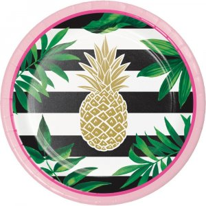 Pineapple Gold Foiled Small Paper Plates 8/pcs