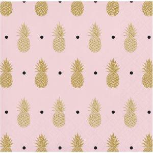 Pineapple Gold Foiled Beverage Napkins 16pcs