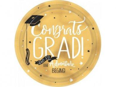 Graduation Large Gold Paper Plates (8pcs)