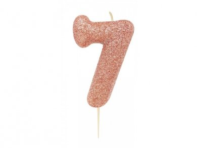 Number 7 Rose Gold with Glitter Cake Candle