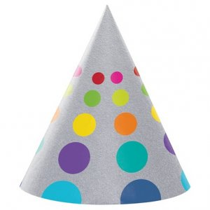 Silver Party Hats with Dots 8/pcs