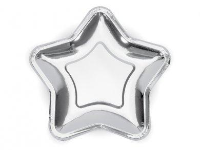 Silver Metallic Stars Large Paper Plates 6/pcs