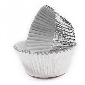 Ασημί Μεταλλικό Θήκες Για Cupcakes 45/Τμχ