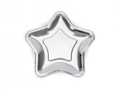 Metallic Silver Star shaped small paper plates 6/pcs
