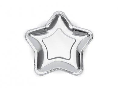 Μεταλλικό Ασημί Σε Σχήμα Αστέρι Μικρά Πιάτα (6τμχ)