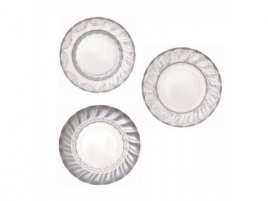 Porcelain Ασημί Μικρά Χάρτινα Πιάτα 12τμχ