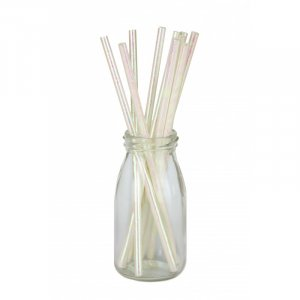 White Iridescent Paper Straws 10/pcs