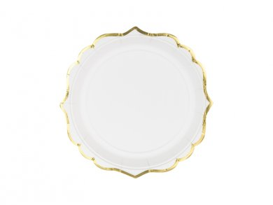 White Small Paper Plates with Gold Edge 6/pcs