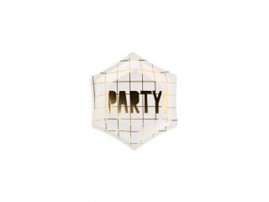 White Mini Paper Plates with Gold Foiled Party 6/pcs