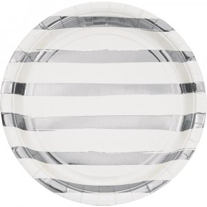 White large paper plates with silver foiled stripes 8/pcs
