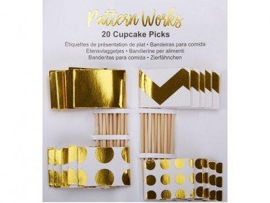 Gold & White Picks 20/pcs