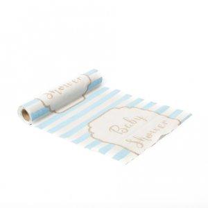 Pale Blue & Gold Baby Shower Table Runner