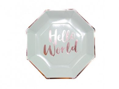 Hello World Large Paper Plates (8pcs)