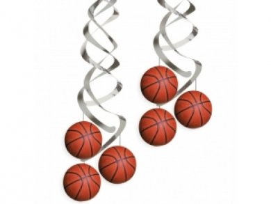 Basket Ball Hanging Swirl Decoration 2pcs
