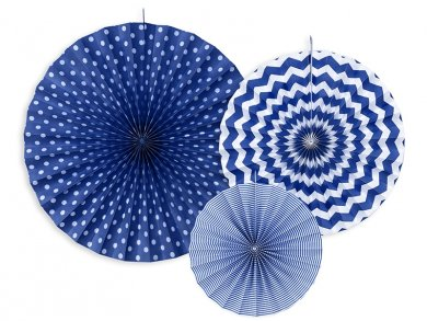 Blue fan decoration 3/pcs