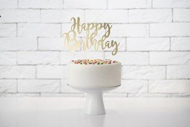 Gold Happy Birthday Cake Decoration
