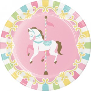 Carousel Small Paper Plates 8/pcs