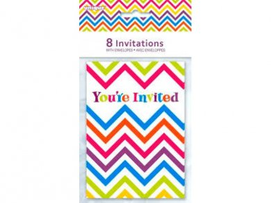 Chevron Multicolor Party Invitations (8pcs)