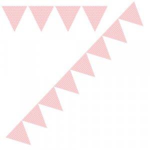 Ροζ Με Πουά Γιρλάντα Σημαιάκια