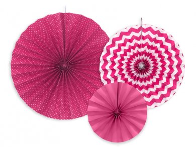 Fucshia fan decoration 3/pcs