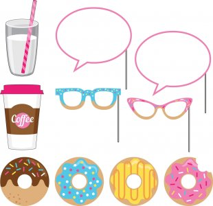 Donuts photobooth props 10/pcs