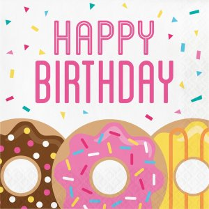 Χαρτοπετσέτες Happy Birthday Ντόνατς 16/Τμχ