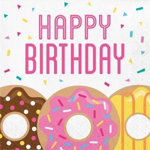 Happy Birthday Donuts luncheon napkins 16/pcs